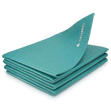 Navaris Esterilla de Yoga Antideslizante - Colchoneta de 173 x 61 x 0.4CM - Alfombra Plegable para Entrenamiento Gimnasia y Pilates - Azul