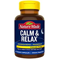 Nature Made Calm & Relax with Magnesium and Ashwagandha for Stress Relief 60 Count