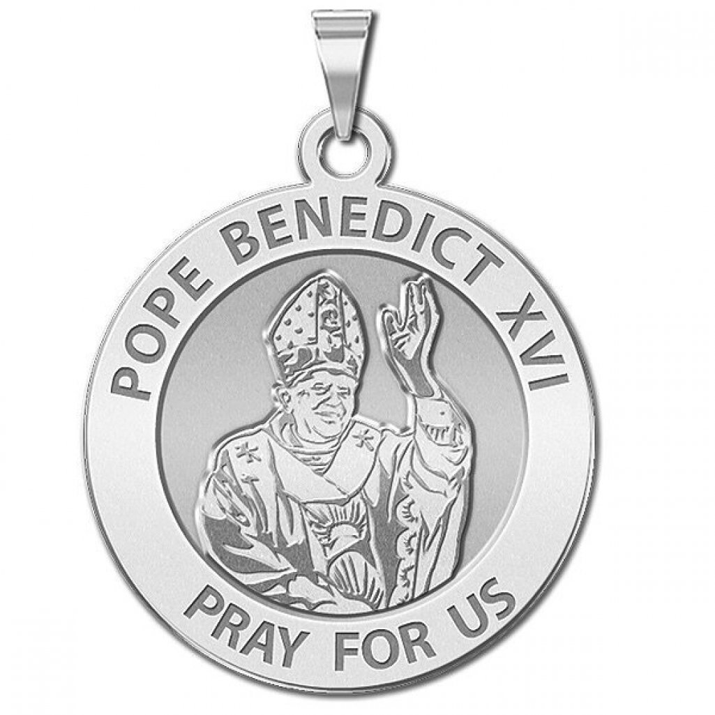 PicturesOnGold.com Pope Benedict XVI Round Religious Medal Solid 14K White Gold 2//3 Inch Size of Dime