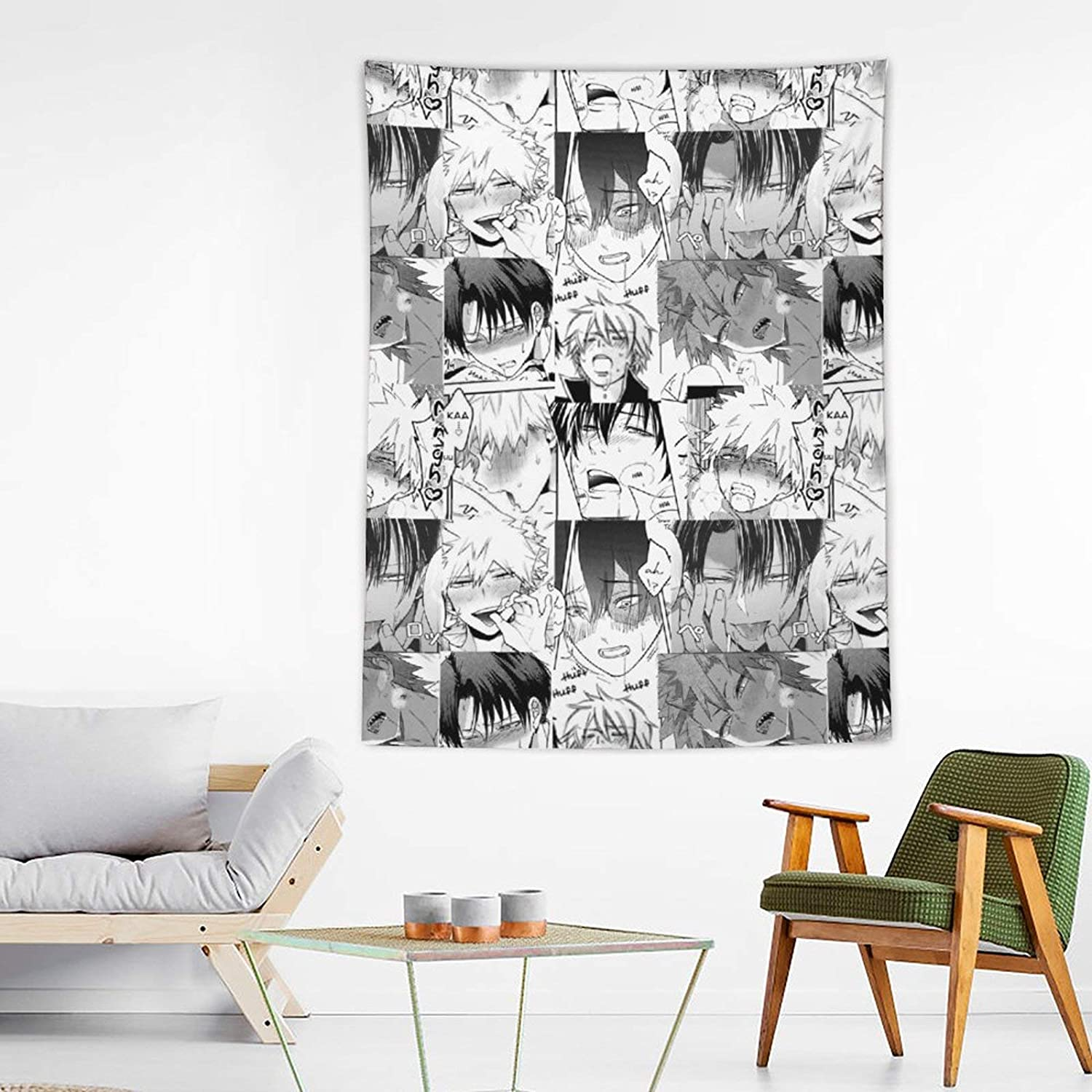 xiaojun ComicsYaoi Guys Ahegao Hentai Collage Tapestry Wall Hanging Wave Tapestries for Anime Home Decoration Bedroom Decor Living Room Door Curtain Balcony Sheer Room 60×80 inches
