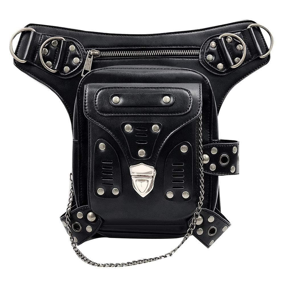 Fleur De LYS /& Circles Women Men Leather Steampunk Bag Vintage Shoulder Steampunk Handbag Gothic Waist Packs Leg Bag
