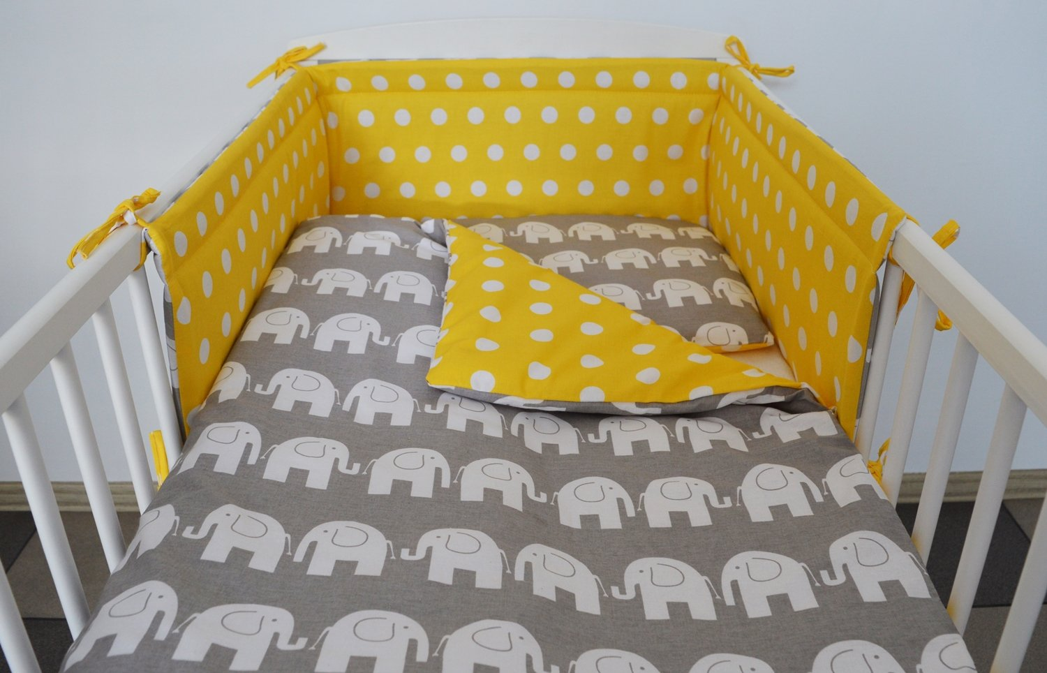 COT Size 120X60, Grey Elephant - Yellow with DOTS - Reversible 3 pc Baby Bedding Set for COT 120X60 OR COT Bed 140X70 Stars-Elephant-