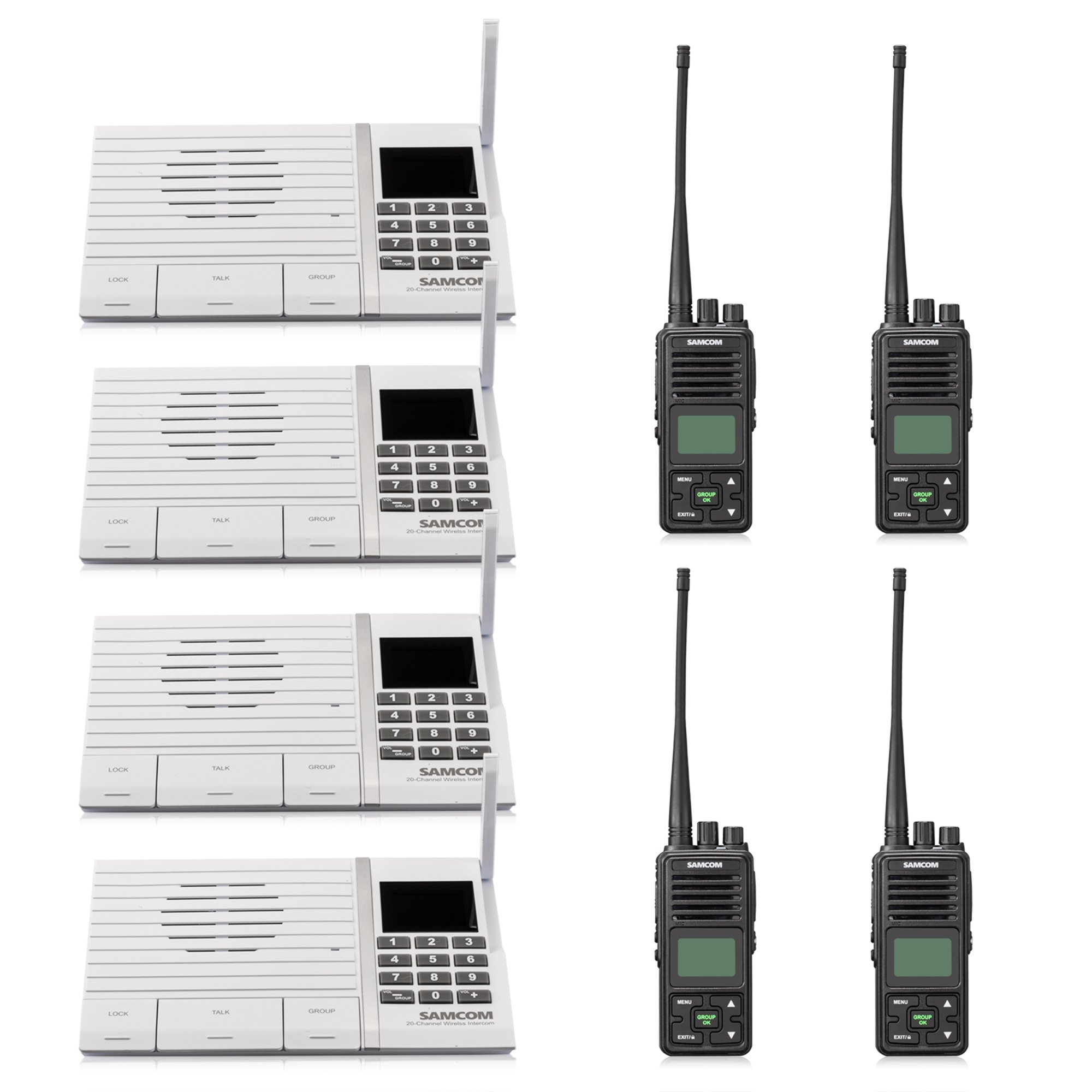Samcom 20 Channel with Group Button Wireless intercom,UHF 400-470MHz Two Way Radio with 2.5 Miles Range(4 Black +4 White) by samcom