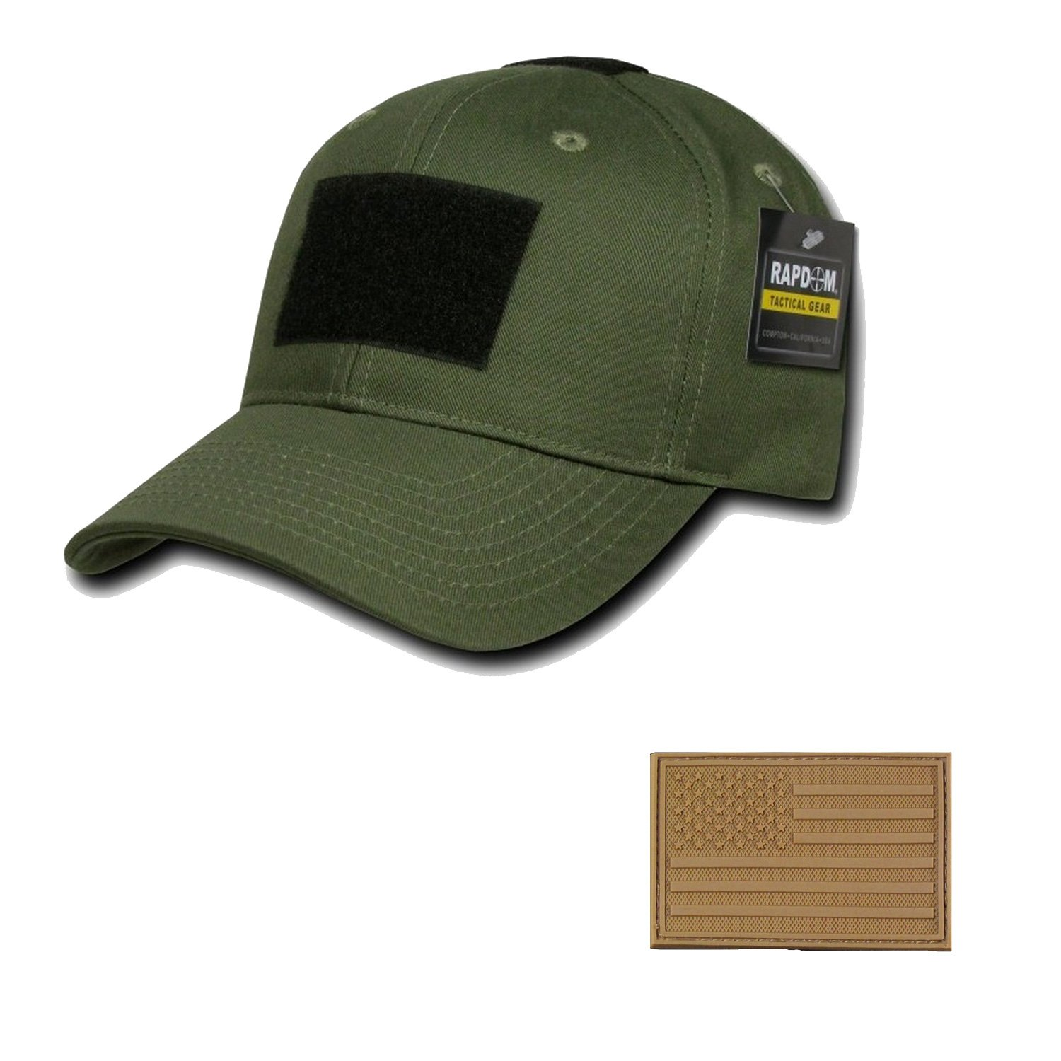 RAPDOM Genuine Tactical Constructed Ball Operator Cap Olive Caps with Free Patch (Olive, USA Flag Coyote Patch) by RAPDOM