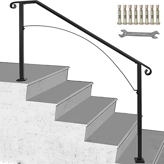 Handrail Arch #1 Fits 1 to 2 Steps Stair Rail Mattle Wrought Iron Handrail Strair with Installation Kit Hand Rails for Outdoor Steps,Black Handrail