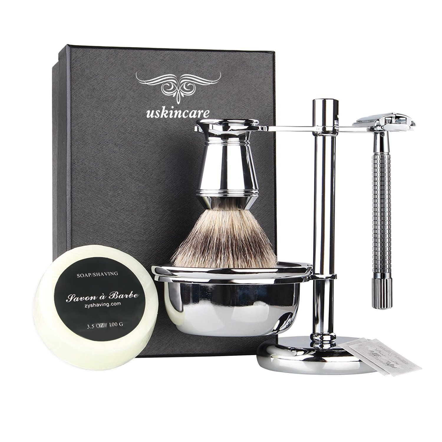 6 Piece Shaving Gift Kit - Includes Badger Hair Shaving Brush,Double Edge Safety Razor,Chrome Stand,Bowl,Shaving Soap,2 Replacement Blades