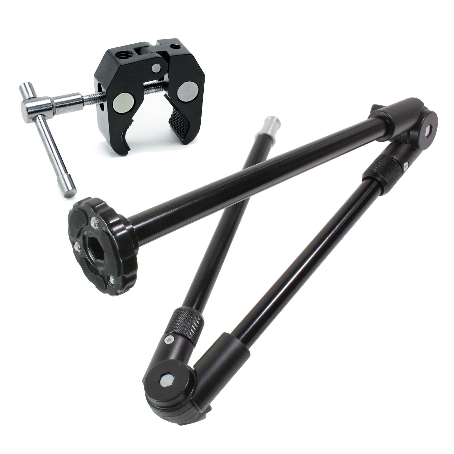 LS Photography 3 Section Single Articulated Arm Camera Mount Bracket with 5/8'' & 1/4'' Stud and Super Clamp with 1/4'' & 3/8'' Threads, Photo Video Light Stand Support, LGG707