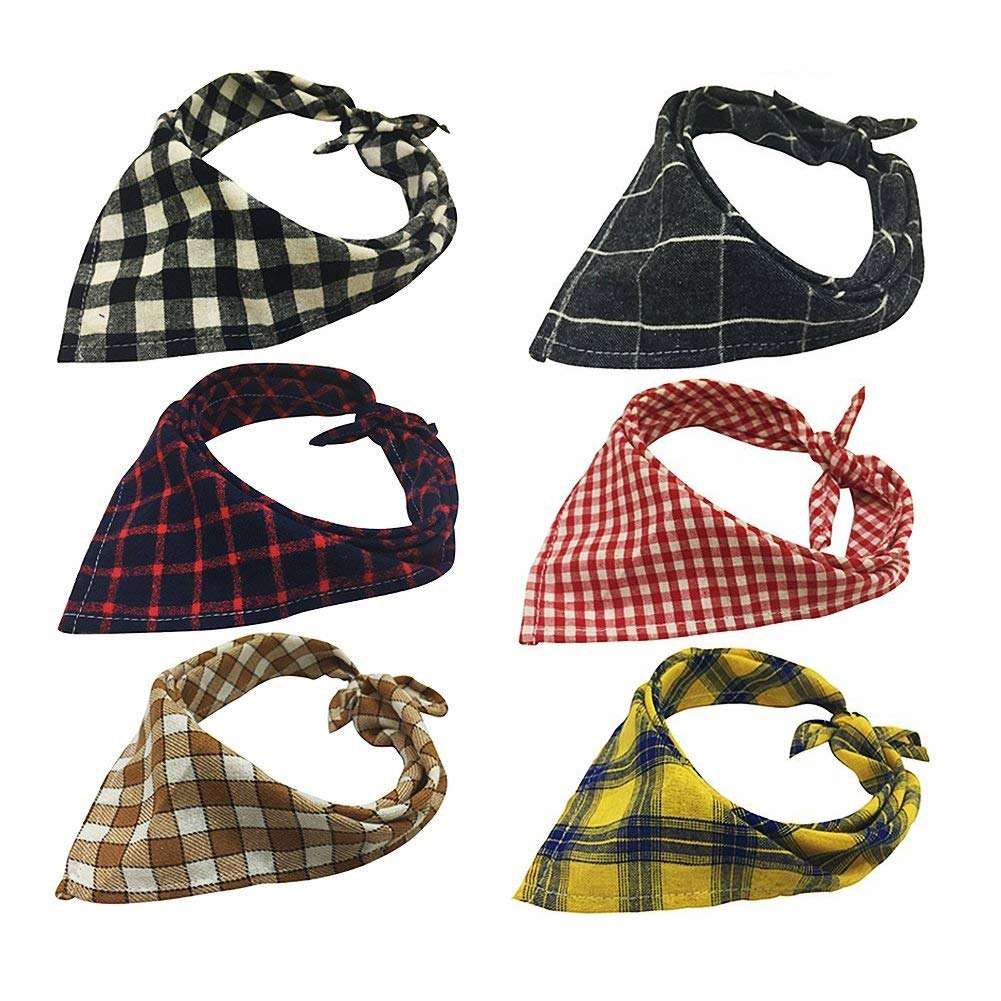 The Creativehome Dog Bandanas Pet Scarf Cute Plaid Triangle Scarf Puppy Cat Kitten Other Animals(6 pack)