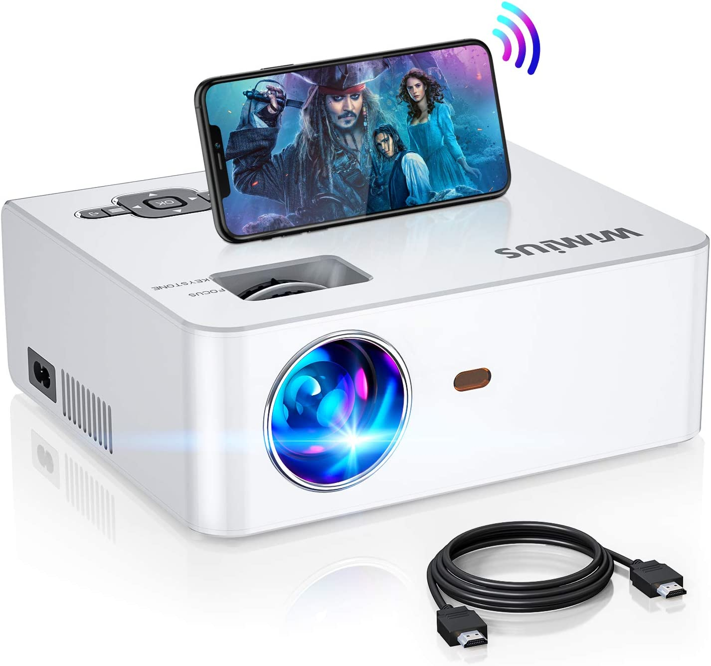 """WiFi Mini Projector 5500Lux HD, Built-in 5W Speaker, 2X Louder, New WiMiUS S2 Home & Outdoor Movie Projector Support 1920 x 1080P 200"""" Screen, Compatible w/ Fire TV Stick, PS4, Laptop, iPhone"""