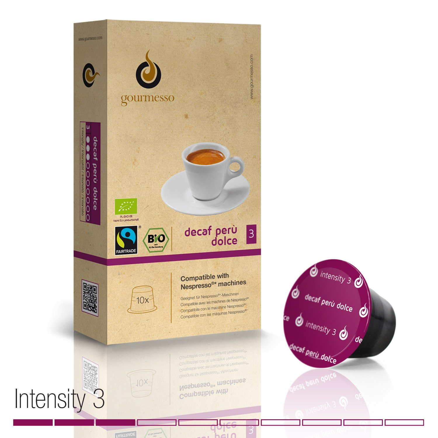 Gourmesso Decaf Perù Dolce - 10 Nespresso Compatible Coffee Capsules - Organic and Fair Trade: Amazon.com: Grocery & Gourmet Food