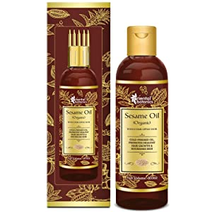 Oriental Botanics Sesame Oil 200ml for Hair and Skin Care - With Comb Applicator - Pure Oil with No Mineral Oil, Silicones