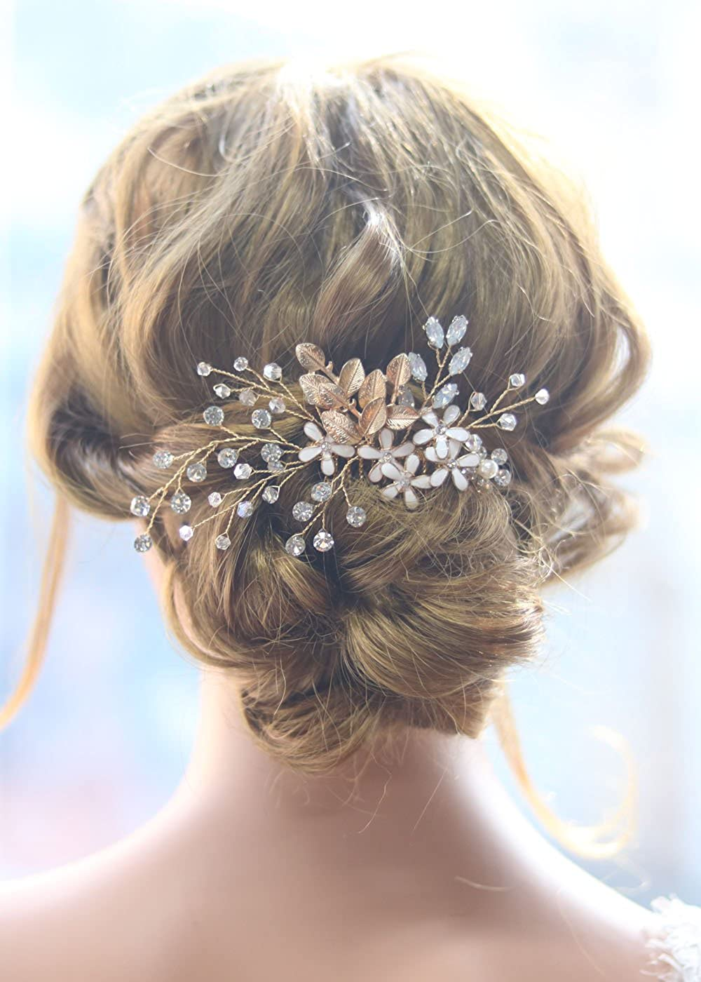 Missgrace Bridal Vintage Gold Leaves and Flower Crystal Hair Comb -Rhinestone Bridal Back Piece Wedding Hair Accessories for for Festival and Party- Bridal Hair Accessories for Bride