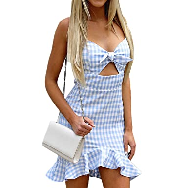 2d82e36f84c Small-shop Plaid Short Mini Dress Spaghetti Strap Backless V-Neck Femme Casual  Dress at Amazon Women s Clothing store