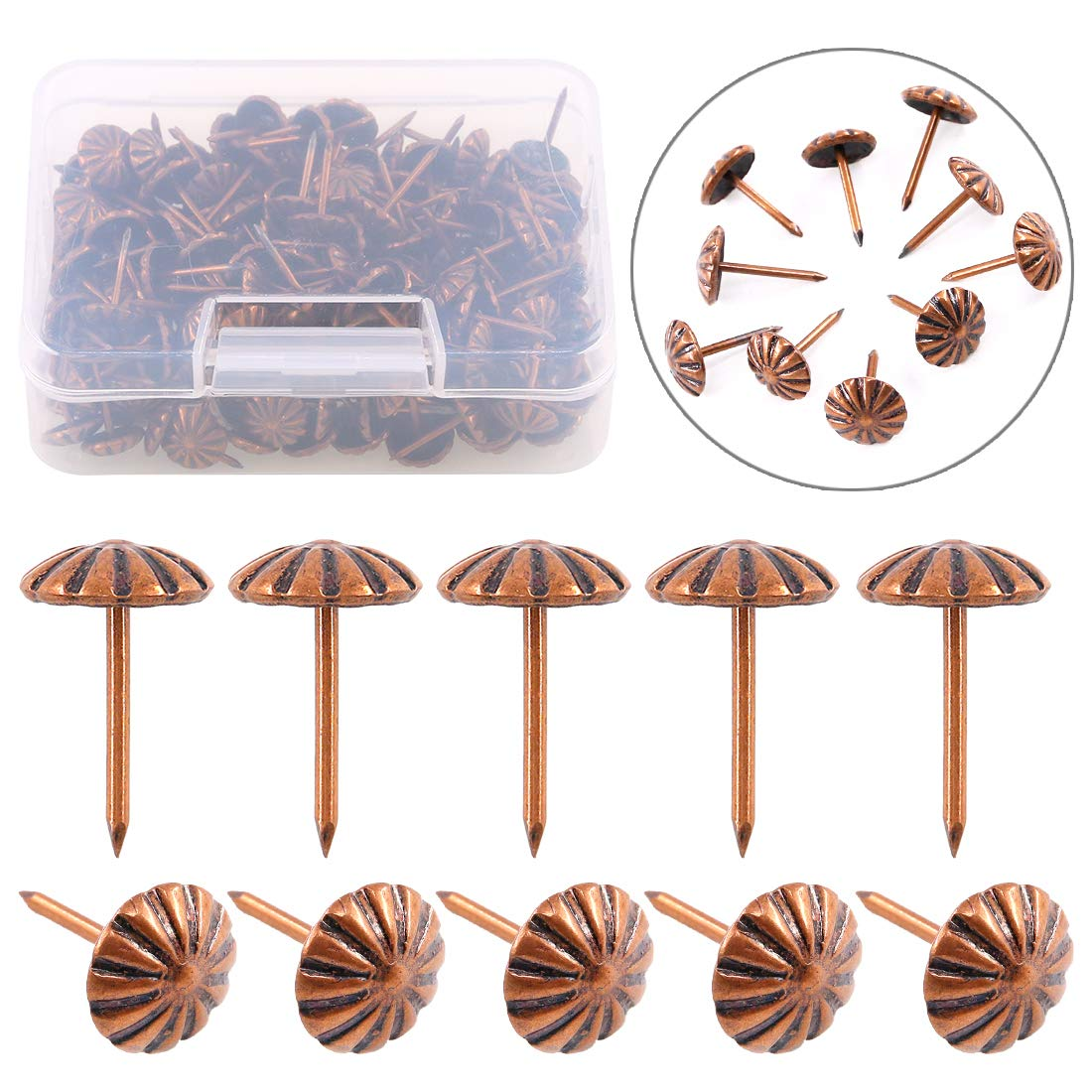 Swpeet 200Pcs 7 16 Flower Pattern Round Domed Head Upholstery Nails Pins Decorative Tacks Kit Antique Red Bronze Finish Nails Pins Tacks for Nickel Finish and Furniture DIY LE Reform