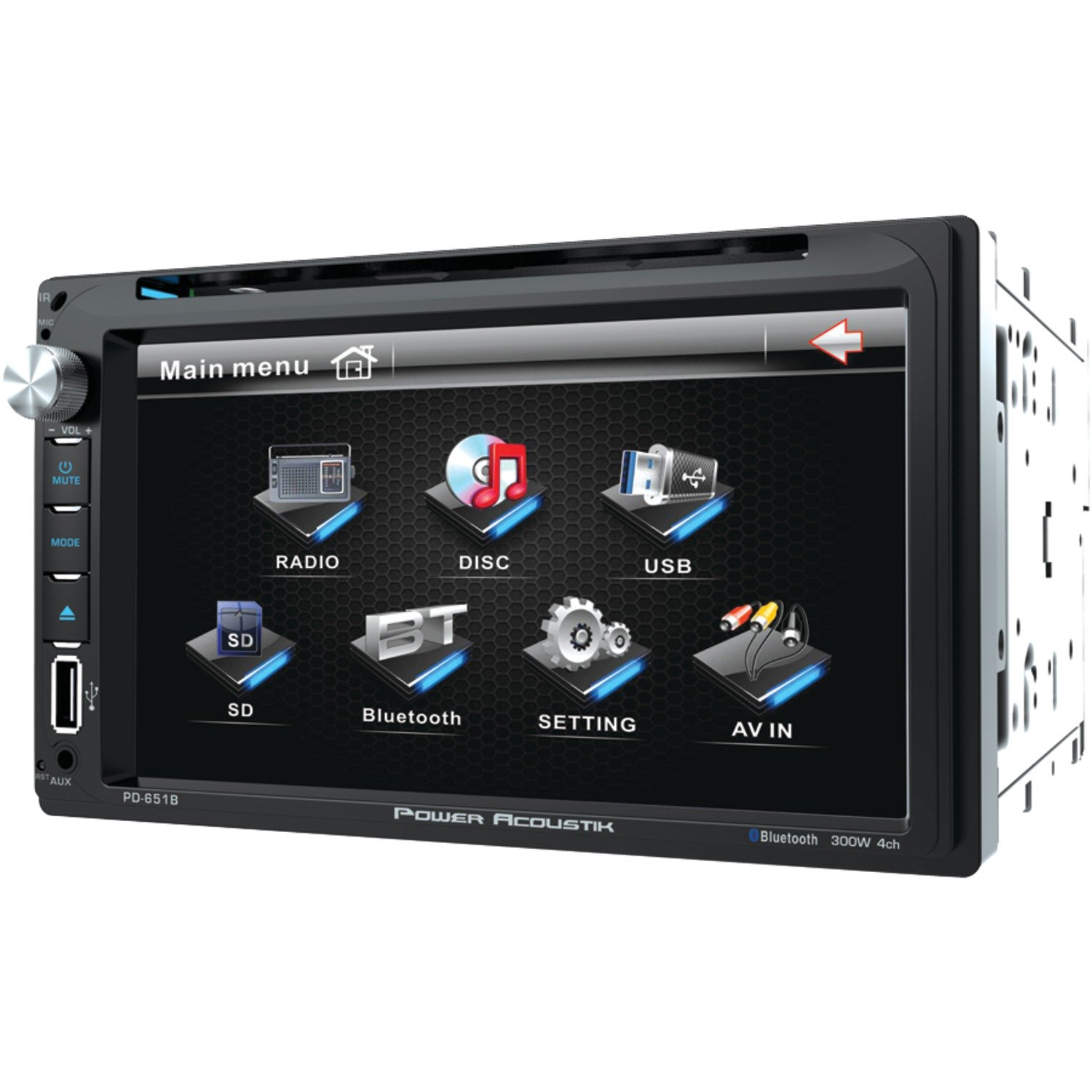 Power Acoustik PD 651B 6.5'' Double-DIN in-Dash LCD Touchscreen DVD Receiver with Bluetooth by Power Acoustik