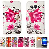 32nd® Designer book wallet PU leather case cover for Samsung Galaxy Ace 3 S7270 + screen protector and cloth - Purple Rose