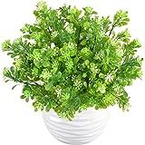 MIHOUNION 4 Bundle plastica artificiale Piante Aglaia odorata Lour arbusti sempreverdi esterna stabile ai raggi UV Subtropicale cespugli verdi giardino della casa da tavolo floreale Disposizione Decor