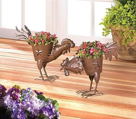 Amazon Com Garden Planter Iron Rooster Plant Holder Home Corner