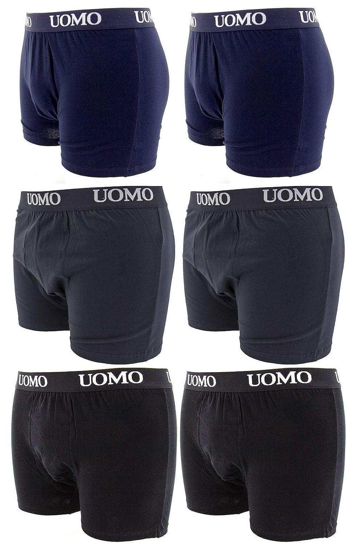 Netgozio - Confezione da 6 Pezzi boxer uomo Slip Intimo cotone elastico colori assortiti Bianco Nero Blu Grigio Taglia M -5XL Nuovo 5xl multicolore 100162