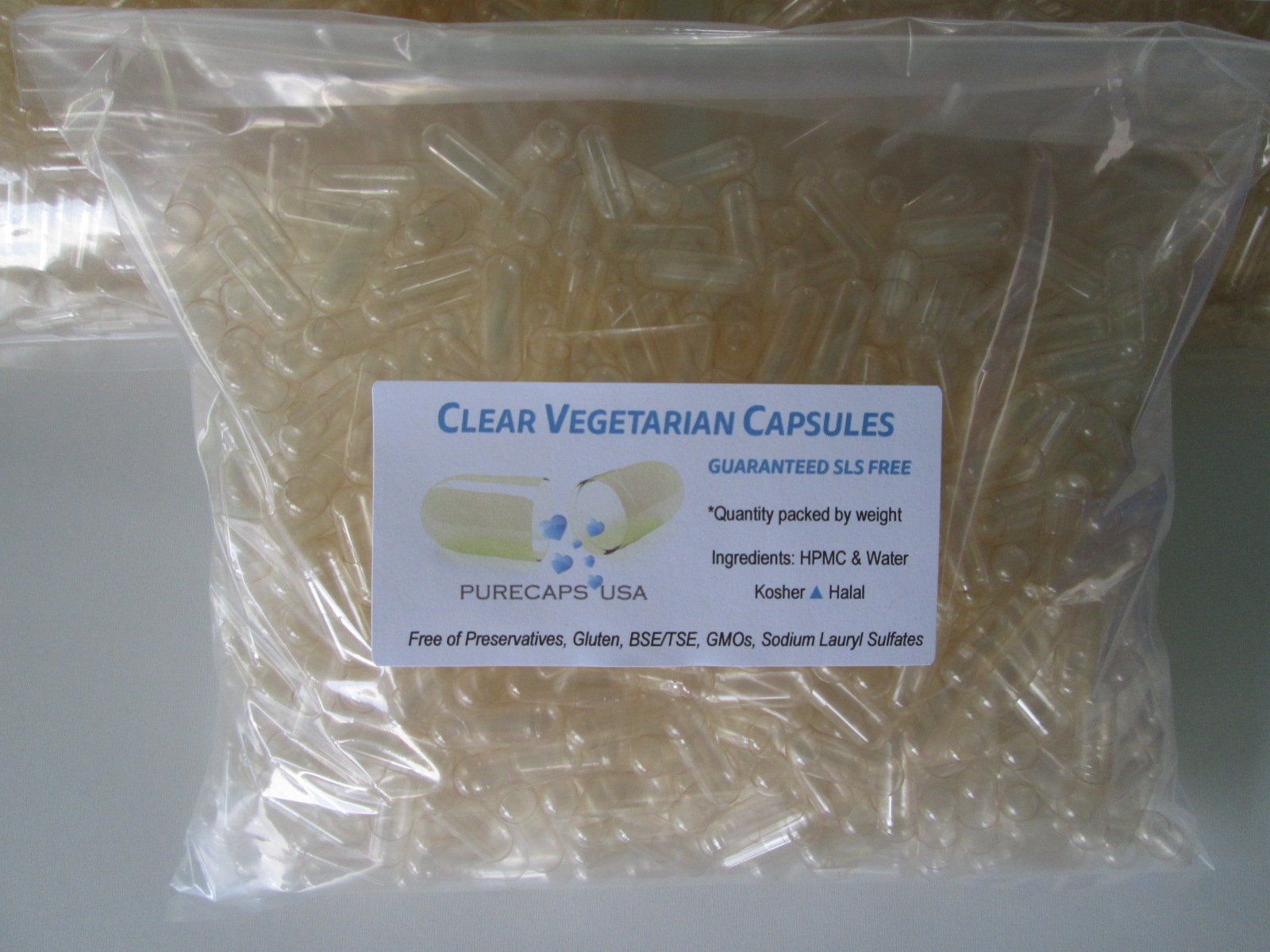 PurecapsUSA - Clear Empty Vegetarian Capsules - Size 00 (10,000 Joined Capsules)