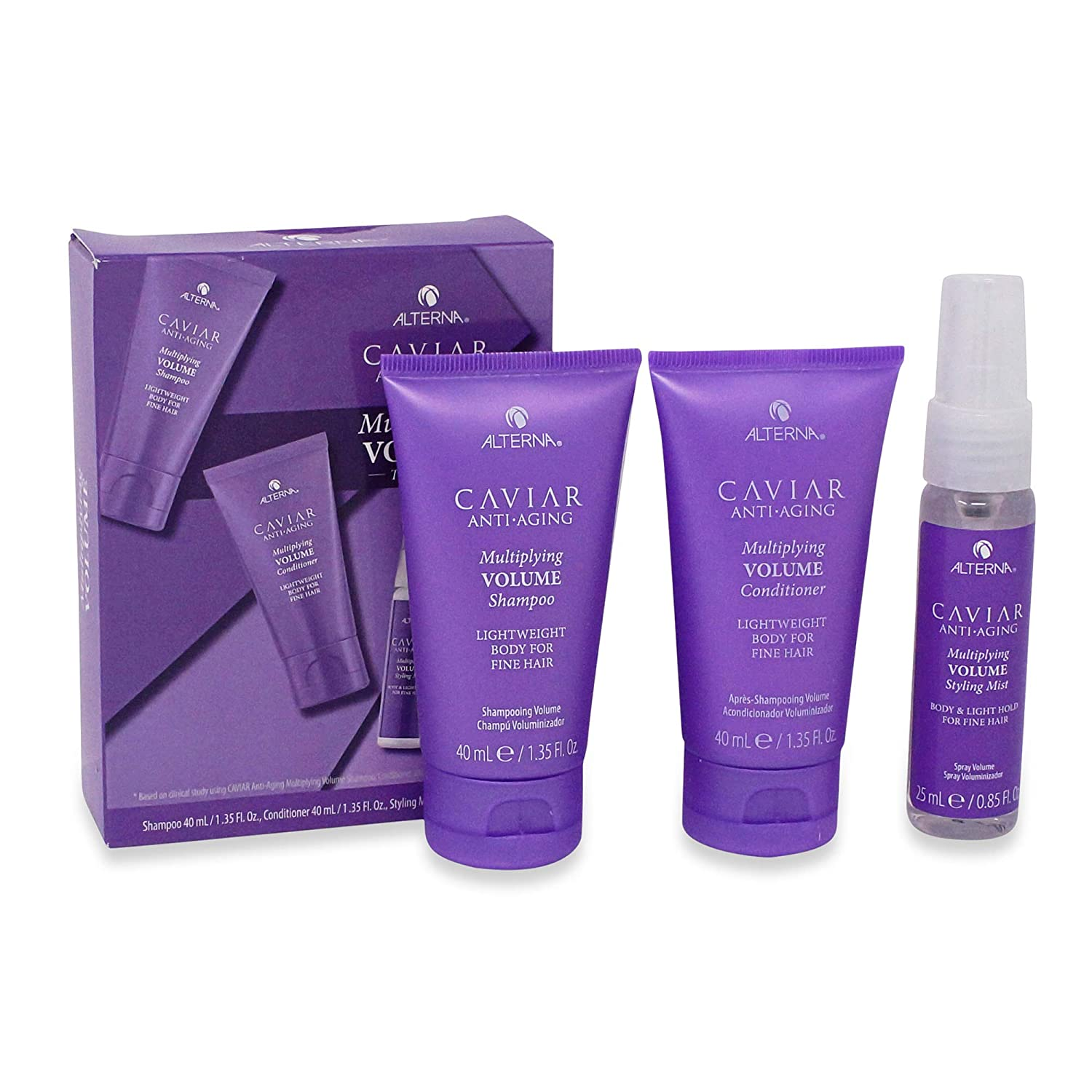 Alterna Caviar Anti-Aging Shampoo-Conditioner-Styling Mist Kit Multiplying Volume1.35-1.35-0.86 Ounce 40-40-26 Gram