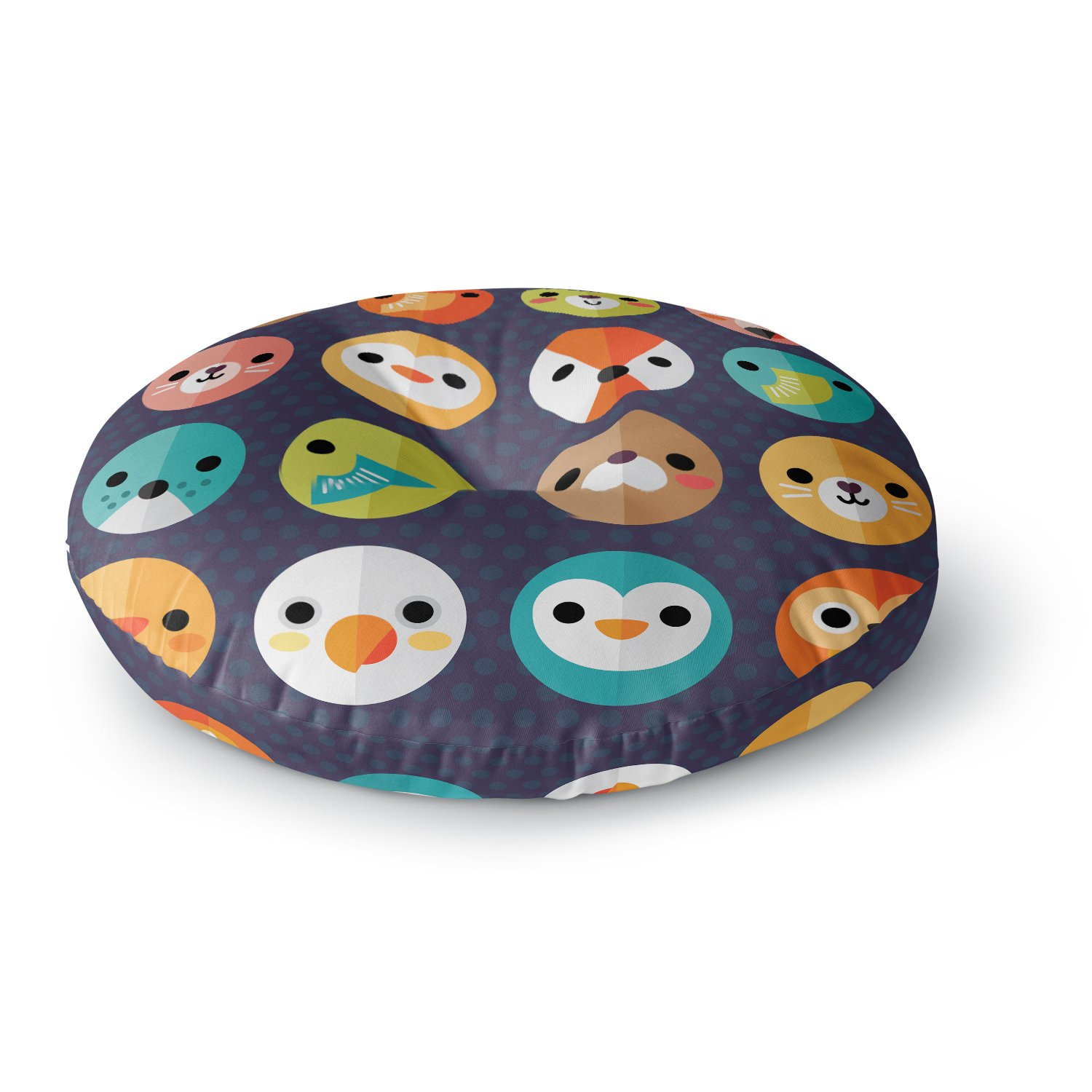 KESS InHouse Daisy Beatrice Smiley Faces Animals Round Floor Pillow, 26'' by Kess InHouse