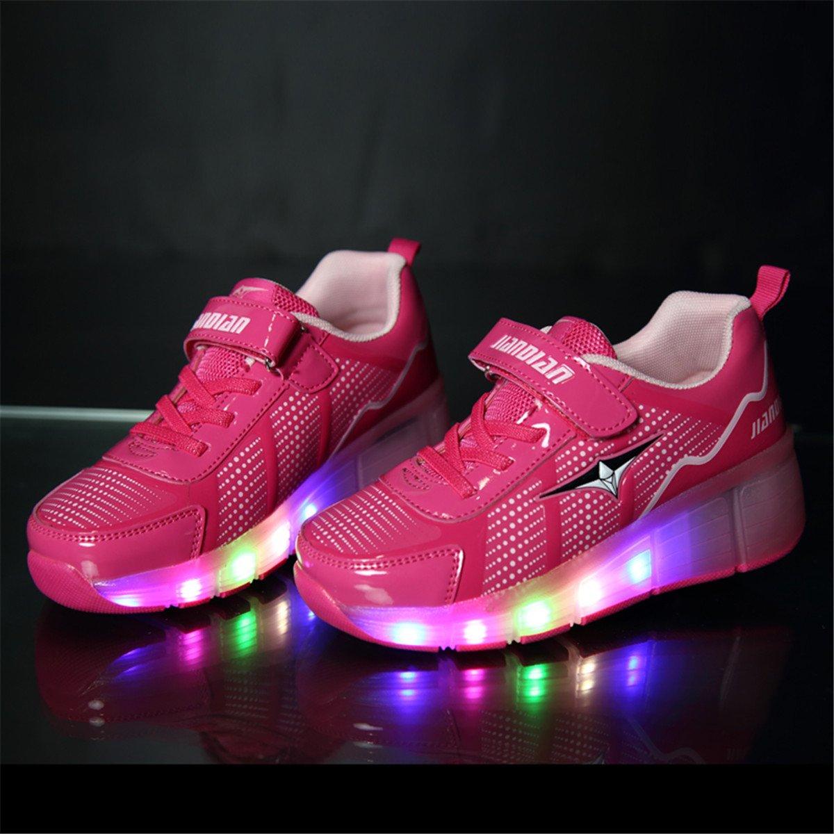Unisex Enfants LED ChaussuresSingle Roulette,Bouton Poussoir Ajustable,LED Skates Baskets Chaussures,Multisports Outdoor Sneakers