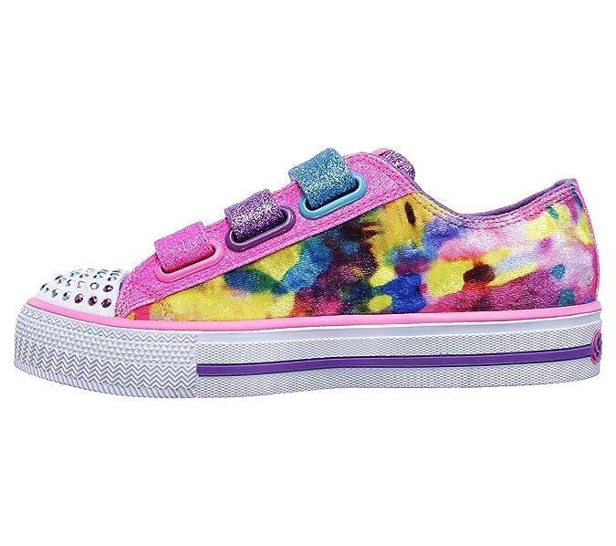10846L Girls Twinkle Toes: Shuffles - Colorous Cutie Sneakers, Royal/Multi - 1.5 Skechers