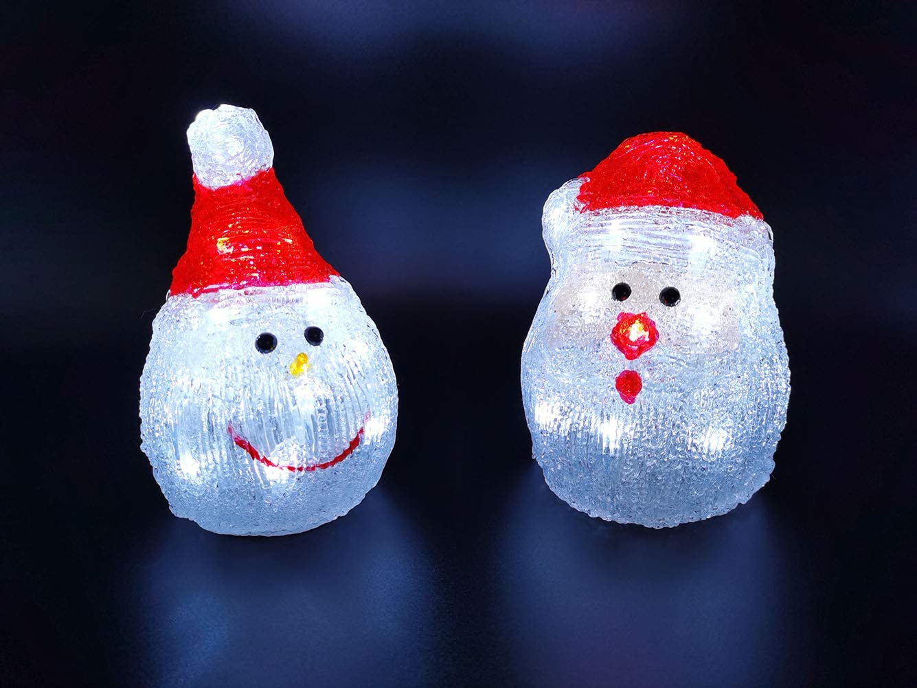 Christmas Snowman Santa Decorations Clearance for Kids 2PCS Set Outdoor Indoor Led Lighted Tabletop Decorations Battery Operated G-B002A