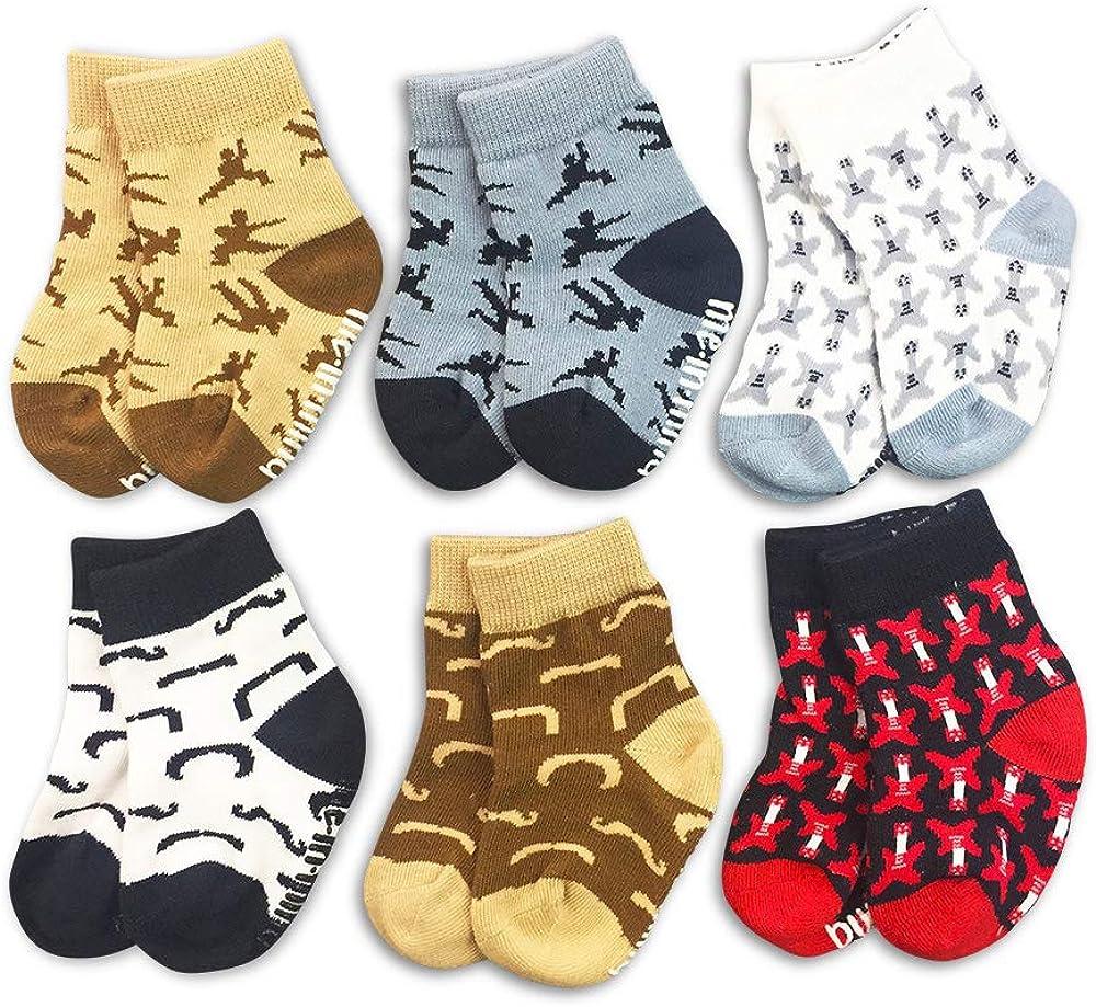 Organic Baby Socks 6-Pair Gift Set - Hipster - Ninja Mustache Guitar Boys 0-3 3-6 6-12 12-24
