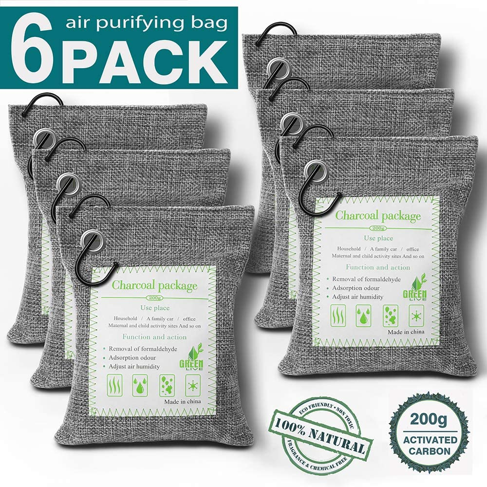 Redefun Bamboo Charcoal Air Purifying Bags[6PACK 200G], Activated Charcoal Odor Eliminators, Natural Freshener Removes Odors and Moisture, Odor Absorbers for Home, Pet, Car, Closet, Basement & Shoes