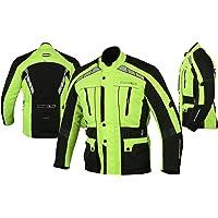 MBS MJ21 James Motocicleta Motocicleta larga chaqueta de viaje textil (amarillo, S)