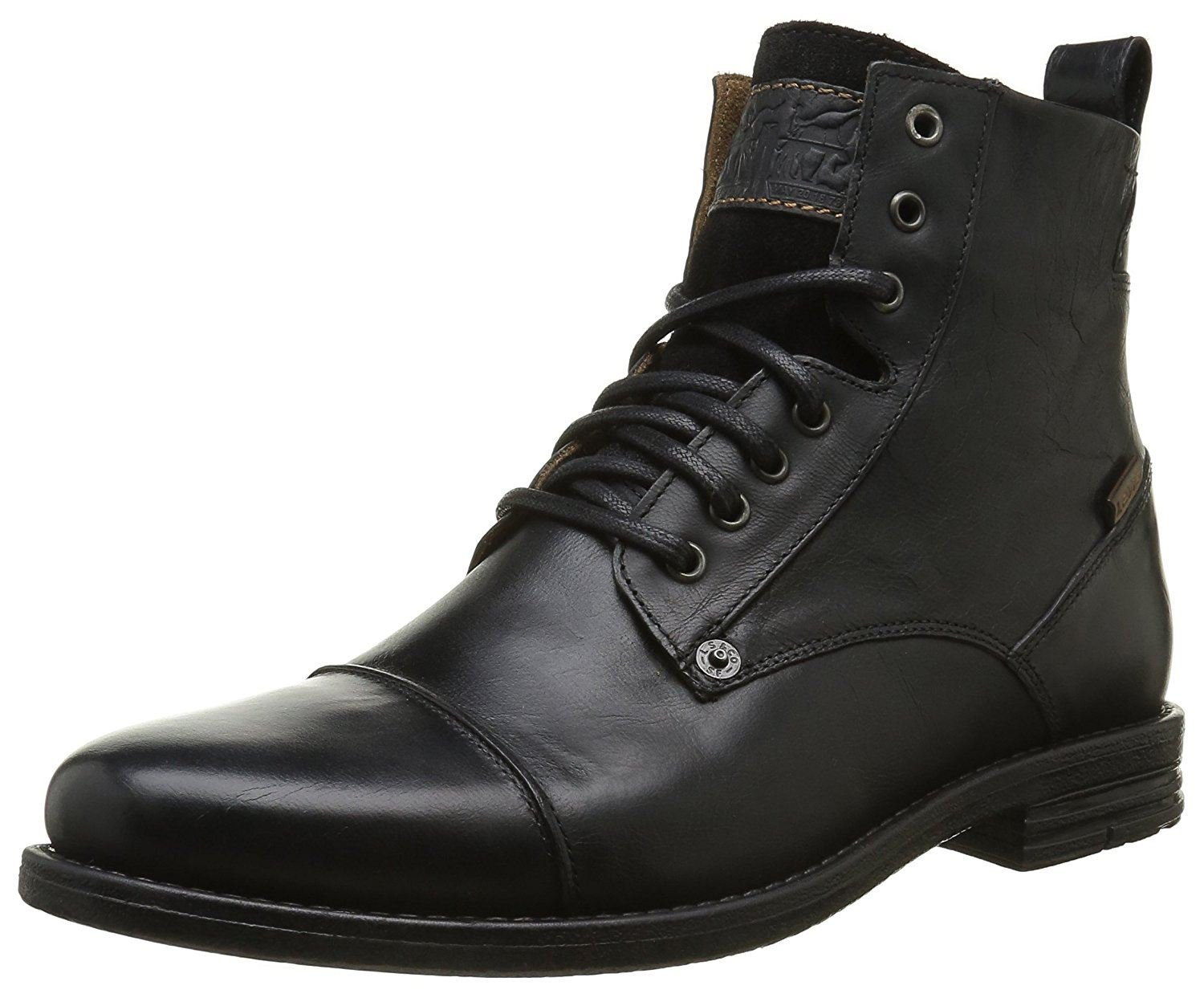 Levi's Emerson Black Mens Leather Mid Ankle Army Boots-43