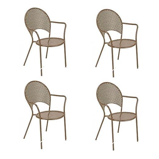 EMU Oferta 4 sillones Sol Apilable Marrón India Muebles de ...