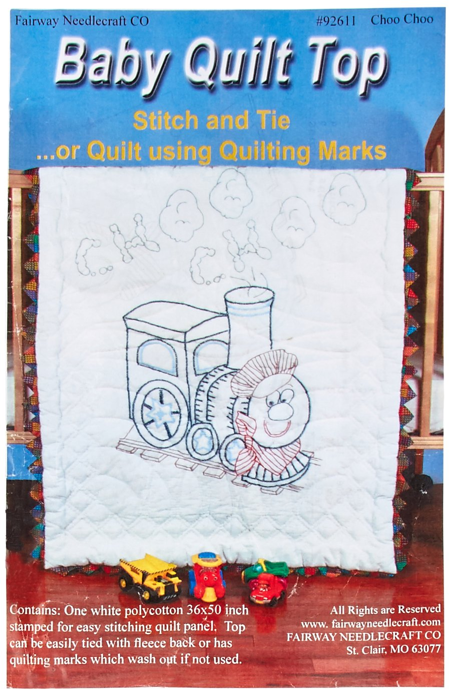Fairway Stamped Baby Quilt Top, 36 by 50-Inch, Train 92611