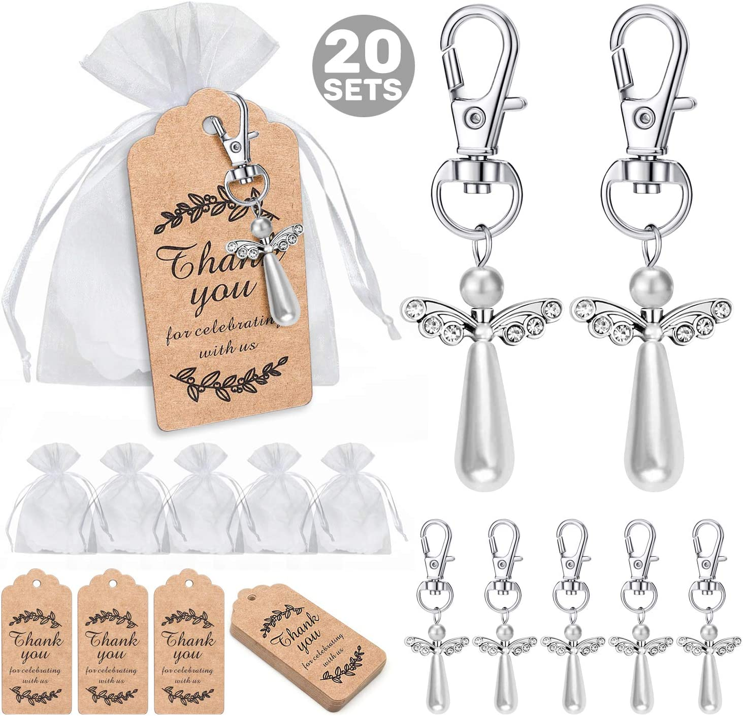 MOVINPE 20pcs Angel Favor Keychains Plus Organza Bags Plus Thank You Kraft Tags, Guest Return Favors for Baby Shower, Bridal Shower, Wedding Charm, Party Favors (Silvery&Long 20pcs)