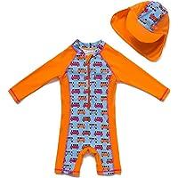 BONVERANO Baby Infant Boy's UPF 50+ Sun Protection L/S One Piece Zip Sunsuit