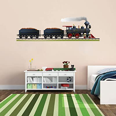 STICKERSFORLIFE Cik177 Full Color Wall Decal Locomotive Train Railroad Track Children's Bedroom: Home & Kitchen