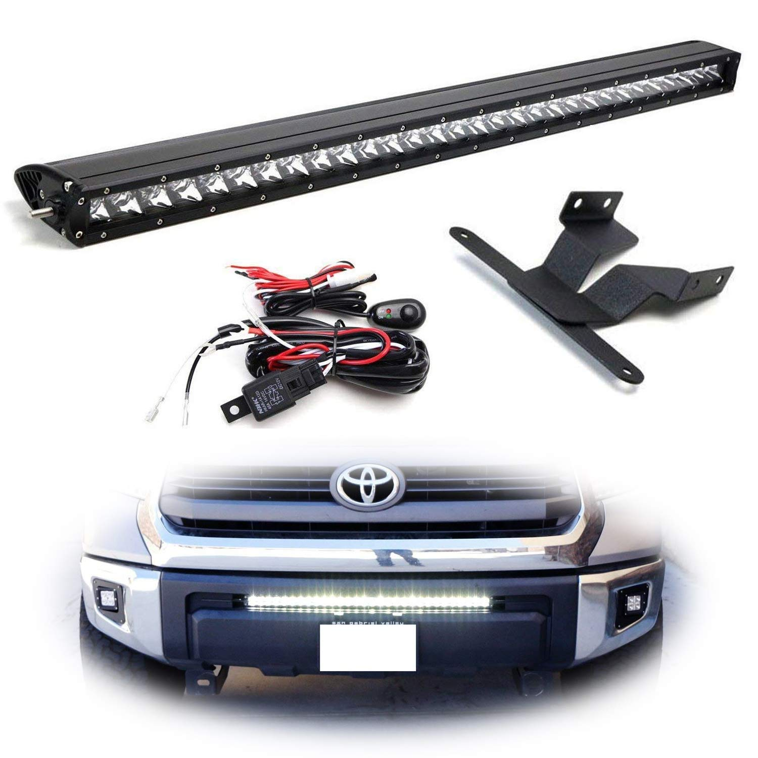 Ijdmtoy Lower Grille Mount 30 Led Light Bar Kit For 2014 Tundra Wiring Diagram Lights Up Toyota Includes 1 150w High Power Cree Lightbar Bumper Opening