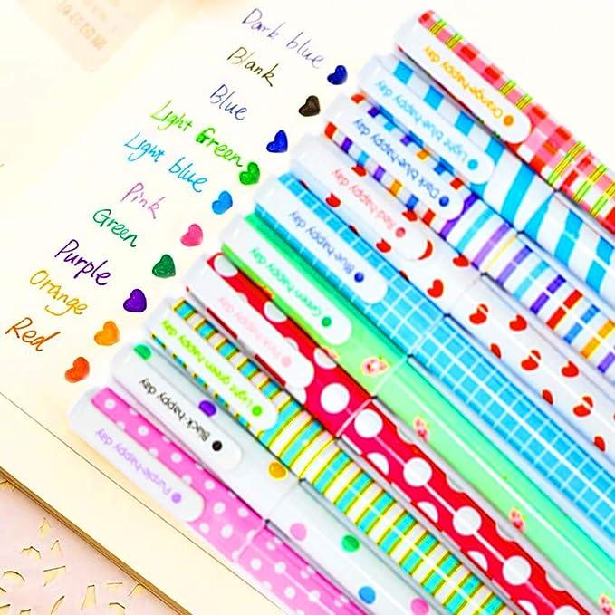 10 Lápices Boligrafos Gel Colores con Transparente Estuche de Regalo Escolar para Niña Edad 3 4 5 6 7 8 9 10 Años, TOYESS Bolígrafos Flores Lindos Set: Amazon.es: Oficina y papelería