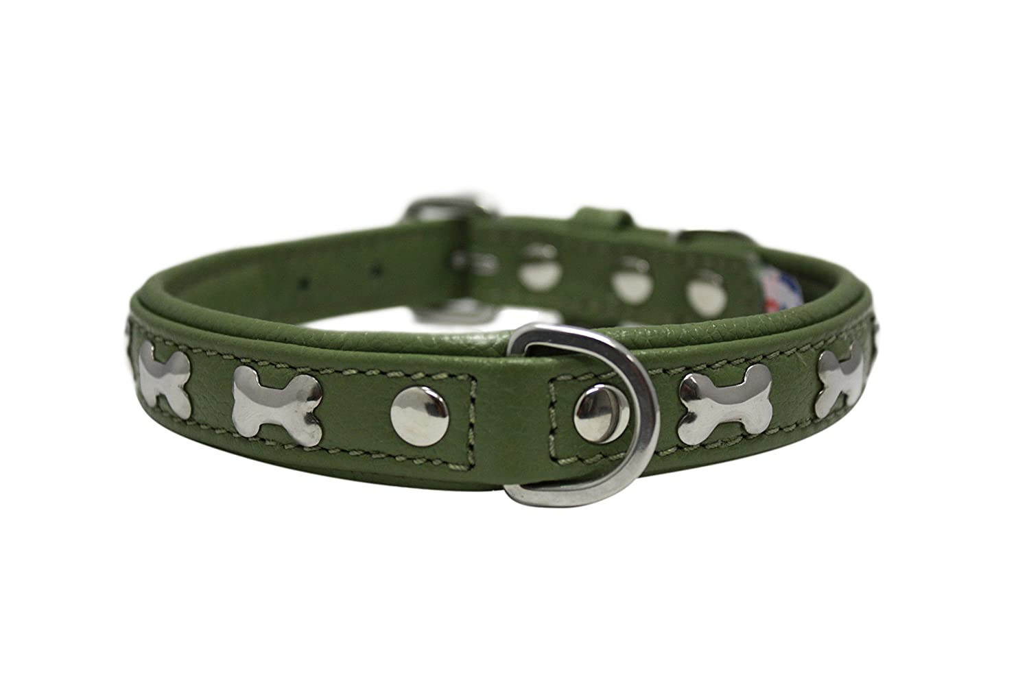 Leather Bones Dog Collar Padded Double-Ply Riveted Settings 14 x 3 4 Green Leather (redterdam Bones) Neck Size  9.5-12