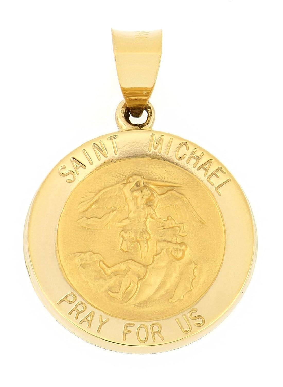 14K Hollow Yellow Gold Saint Michael Pendant