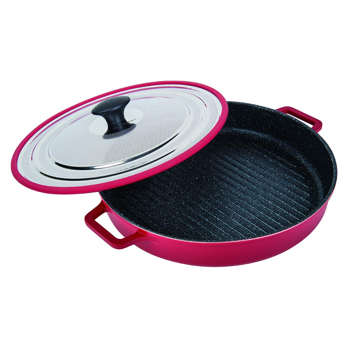 MasterPan Non-Stick Stovetop Oven Grill Pan with Heat-in Steam-Out Lid, nonstick cookware, 12'', Red, MP-106