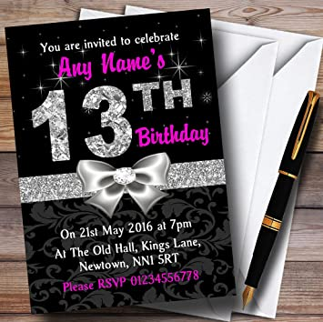 Image Unavailable Not Available For Color Pink Black Silver Diamond 13Th Birthday Party Personalized Invitations