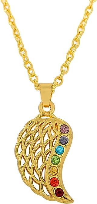 cadeau pour femme et homme Dawapara Collier avec pendentif aile dange 7 chakras Reiki Mandala hindou