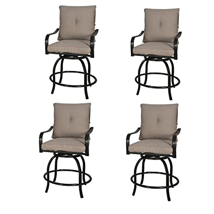 Amazon.com: Rimba Outdoor Swivel Chairs Height Patio Bar Stools With Beige  Cushions (Set Of 4): Garden U0026 Outdoor