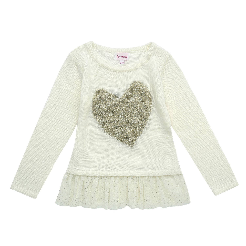 DOYOMODA Girls Long Sleeve Gold Heart Sweater Tulle Bottom Pullover
