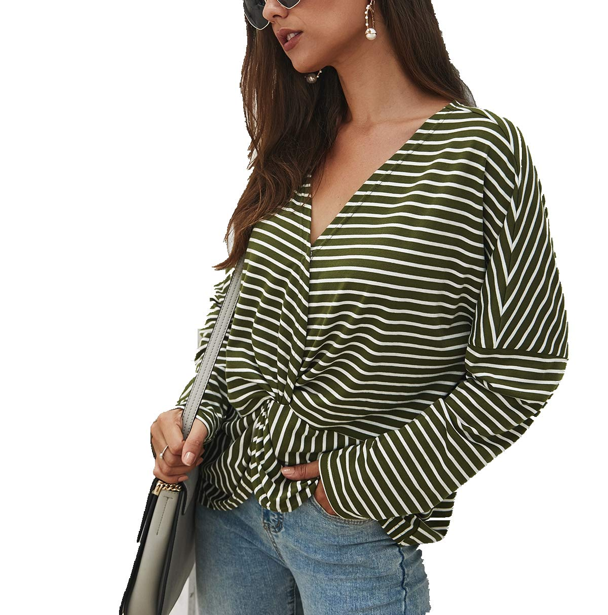 Women's Casual Striped T Shirt Tops,Long Patchwork Sleeve Front Twise Wrap V Neck Loose Basic Soft Tee Tunic Blouse Green by KINGLEN Womens Top
