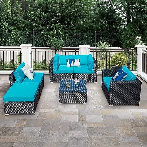 Outdoor Patio Sectional Sofa 6 Piece Rattan Wicker Furniture Set