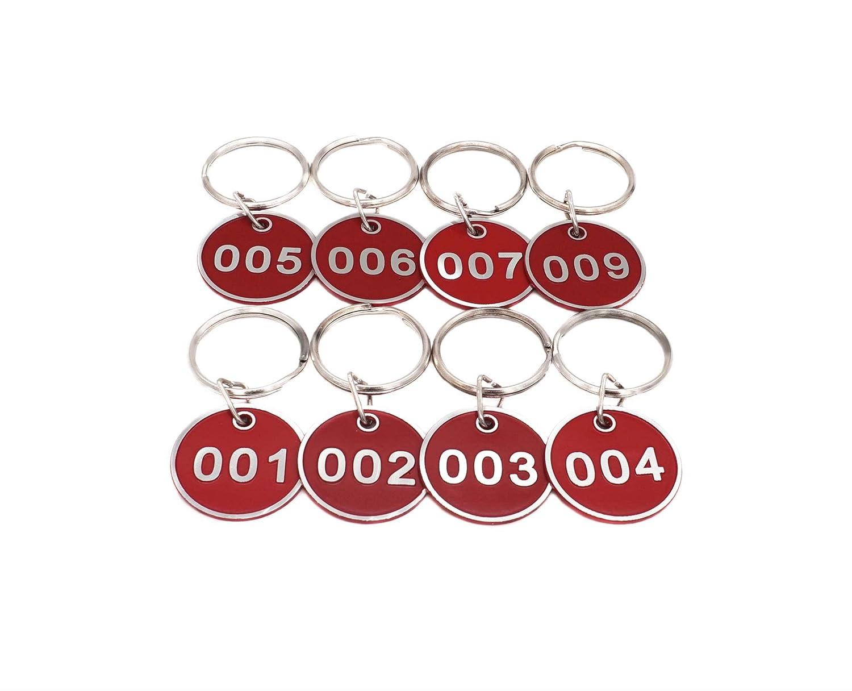 juego de etiquetas n/úmero de etiquetas de identificaci/ón llaveros numerados 50 piezas Llavero de aleaci/ón de aluminio llavero color verde 1 to 50